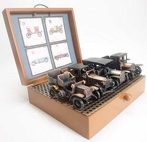 Miniaturas com 4 veículos de época em metal