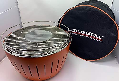 Lotus Lotusgrill Holzkohlengrill (Orange/Mandarinenorange) rauchfrei 35cm Deluxe-Set inkl. Hallingers Grillgewürzbox (5 edle Minigläser mit Gewürzen, Essig und Öl im Mix),1 Sack Grillkohle, Grillzange