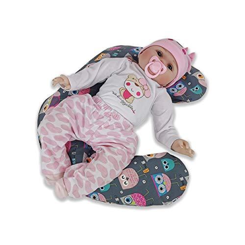 CorpoMED Babykissen 103x15cm inkl. Bezug (Eule Emma), handgenäht aus Deutschland, waschbarer Bezug aus 100% Baumwolle, verwendbar als Baby Lagerungskissen und Seitenschläferkissen