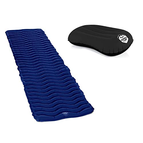 Rugged Camp Camping Pillow & Air Mat+ Camping Sleeping Pad (Black Pillow + Navy Blue Mat) | Best Inflatable Sleeping Air Mattress for Backpacking | Hiking Traveling | Ultralight Inflatable | Bundle co
