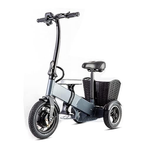 WUYANJUN Triciclo de Bicicleta eléctrico Plegable, Triciclo de Scooter eléctrico Ligero, con 36V 7.5AH 250W, batería de Litio para Adultos, 3 Engranajes