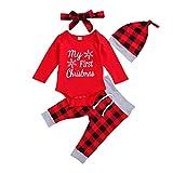 Mameluco para Navidad Bebé Recién Nacido de Invierno Mono Unisex Rojo Manga Larga Bodys de Navidad con Pantalones Cuadros para Fiesta Regalo (Rojo1, 12-18 M)