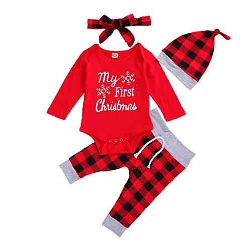 Mameluco para Navidad Bebé Recién Nacido de Invierno Mono Unisex Rojo Manga Larga Bodys de Navidad con Pantalones Cuadros para Fiesta Regalo (Rojo1, 3-6 M)