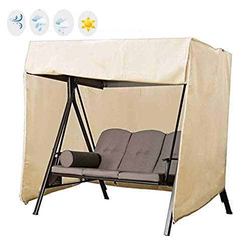 skyfiree Patio 3 Triple Swing Cover Waterproof Durable Hammock Swing Glider Canopy Cover 87x49x67 inches All Weather Protection Outdoor Garden Furniture Covers (Beige)