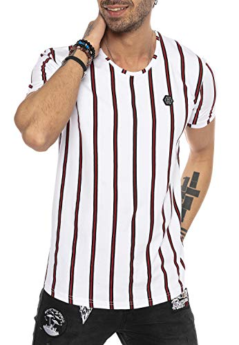 T-Shirt Herren Kurzarm Gestreift Design Filled Stripes Style Casual Designer Rot Weiß XXL