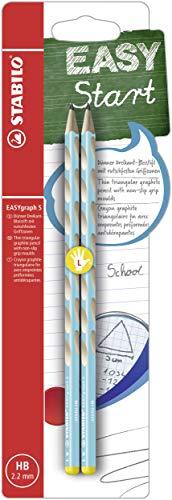 Schmaler Dreikant-Bleistift für Linkshänder - STABILO EASYgraph S in blau - 2er Pack - Härtegrad HB