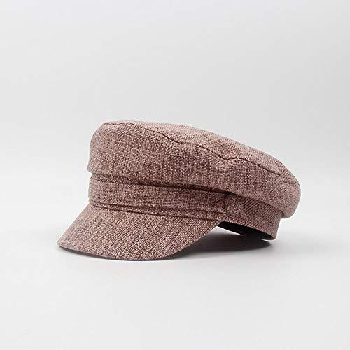 WEIZI Sombrero Militar de Moda para Mujer, Sombrero deMarineroOctogonal de Primavera y otoño,Sombrero Plano, Sombrero de cadete de Viaje para Mujer, Gorra de capitán, Gorras, Rojo