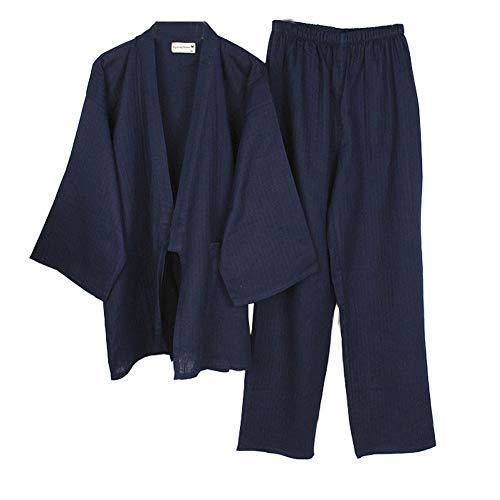 Traje de bata de pijama de algodón estilo japonés Kimono de los hombres [Navy, L]