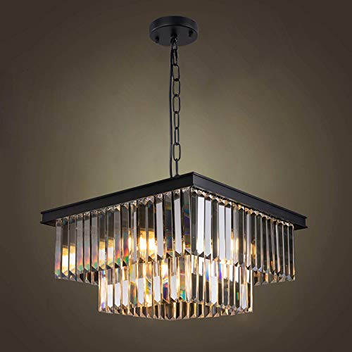 """Wellmet Modern Crystal Chandelier, 9 Lights Square Black Farmhouse Chandeliers with K9 Crystals, L19.68""""X W19.68"""""""