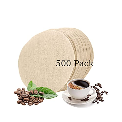 BIVESS 500 Pieces Coffee Filters Paper, Disposable Universal Unbleached Round Replacement Paper Coffee Filters Fits For Coffee Maker/Aerobie Aeropress Coffee/Espresso Makers