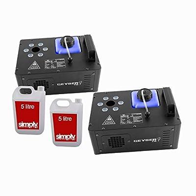 2X Chauvet DJ Geyser T6 Vertical Smoke Machine RGB Disco DJ inc. Remote and Fluid