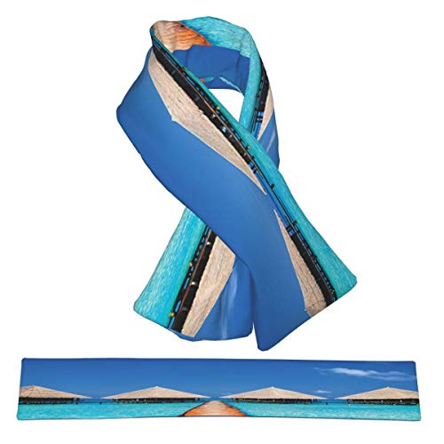 Winter Scarf House Decor Maldives Dock With Clear Waters Tropical Nature Polynesian...