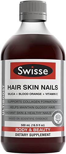 Swisse Hair Skin Nails Liquid Supplement | Premium Body & Beauty, Supports Collagen Production | High in Vitamin C & Silica | 16.9 fl. oz., 1 Bottle