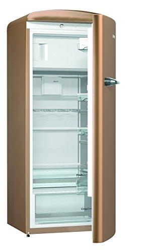 Gorenje ORB 153 CO Kühlschrank mit Gefrierfach / A+++ / Höhe 154 cm / Kühlen: 229 L / Gefrieren: 25 L / Braun / DynamicCooling-System / LED Beleuchtung / Oldtimer / Retro Collection