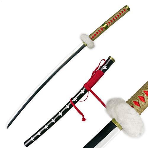 RENGENG Cosplay Anime Trafalgar Law/Trafalgar D Water Law Nihontou Katana Samurai Sword, Carbon Steel, Hand-Wound Wax Rope, Black & Yellow