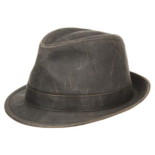 Stetson Trilby de Tela Odessa Hombre - Sombrero Oilskin Moda con Forro, Ribete, Ribete Verano/Invierno