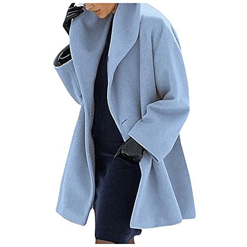 Kobay Damen Herbst Winter Langarm Casual Mantel Oberteile Elegant Langarmshirt Frauen Wollmantel Trenchjacke Damen Warm Slim Lang Mantel Outwear(Himmelblau, S) 306