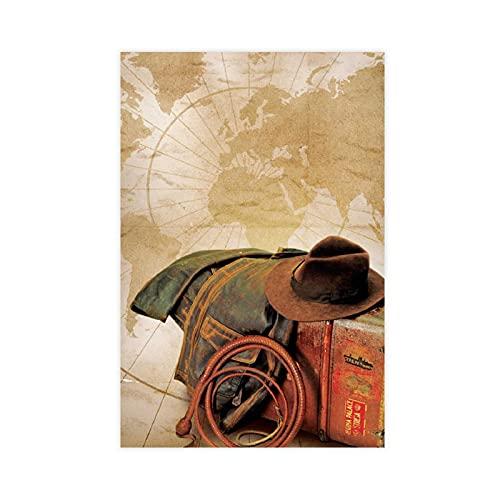 Cartel de lona de Indiana Jones y la última cruzada, 3 unidades, decoración de dormitorio, paisaje, oficina, habitación, decoración, regalo de 60 x 90 cm