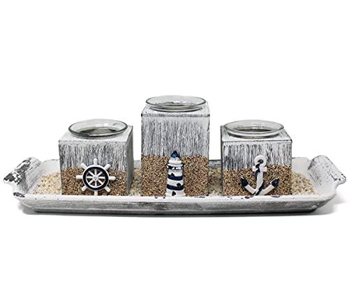 Selldorado® 8-teiliges maritimes Tischdeko-Set - Teelichter Set für das Wohnzimmer - Kerzenhalter/Teelichthalter zur Dekoration