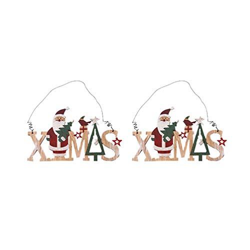 NUOBESTY 2 Piezas de Madera Xmas Navidad Sign Placa de Navidad para Puerta de Navidad Colgante de Pared con diseño de Reno árbol de Navidad Adornos, Santa, 21.5 * 11cm