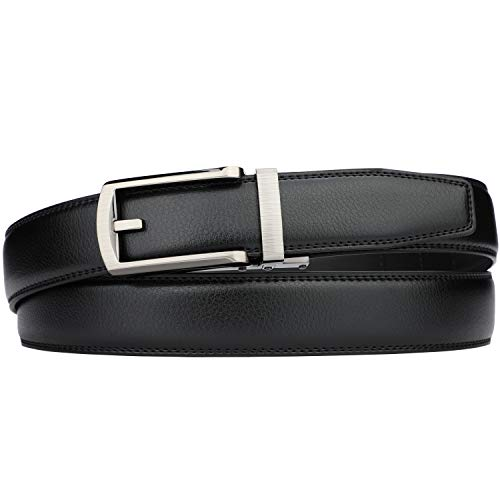 Men's Comfort Genuine Leather Ratchet Dress Belt with Automatic Click Buckle (Suit Pant Size 28″-44″, Style 23 -Black)