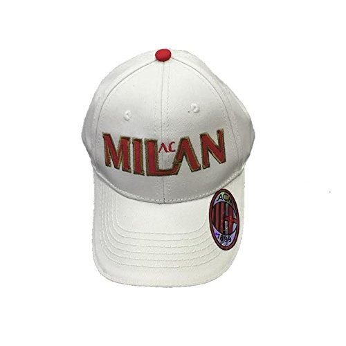 Cappello Uomo Baseball A.C. Milan Calcio Cappellino con Visiera *02774-bianco
