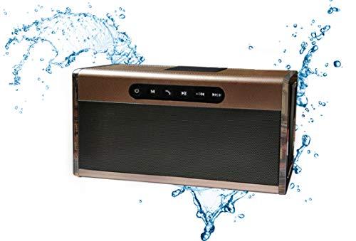 Aigoss Altavoz Bluetooth Portátil Sonido Estéreo, Efecto de Doble Bajo, Speaker Bluetooth 5.0 Manos Libres y FM, Negro