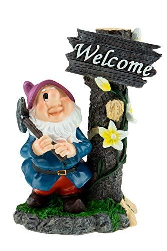 Clever Creations - Divertente Gnomo Decorativo da Giardino - Decorazione per casa, Giardini, Ufficio - Gnomo con Cartello di Benvenuto