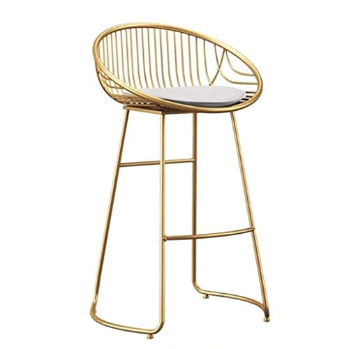 WRISCG Metal Bar Stools Barstools Chair High Footrest Stool Kitchen Pub Breakfast Upholstered Dining Chair High Backless Stools Gold Legs Max Load 150kg (Color : Golden)