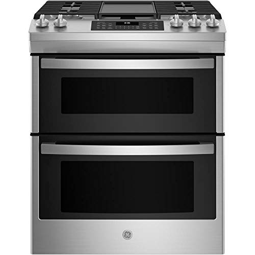 GE JGSS86SPSS 6.7 Cu. Ft. Stainless Slide-In Front Control Gas Double Oven Range