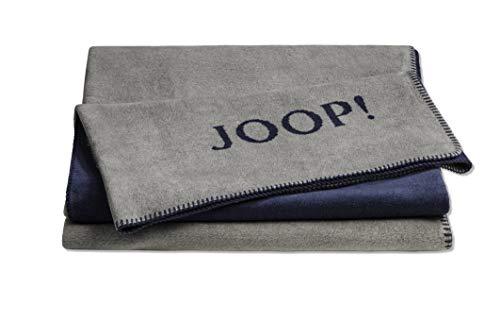 Joop!® Uni-Doubleface I flauschig-weiche Kuscheldecke Graphit-Marine I Wohndecke aus Baumwolle und Dralon® in grau-blau I Tagesdecke 150x200cm | nachhaltig produziert in DE I Öko-Tex Standard 100