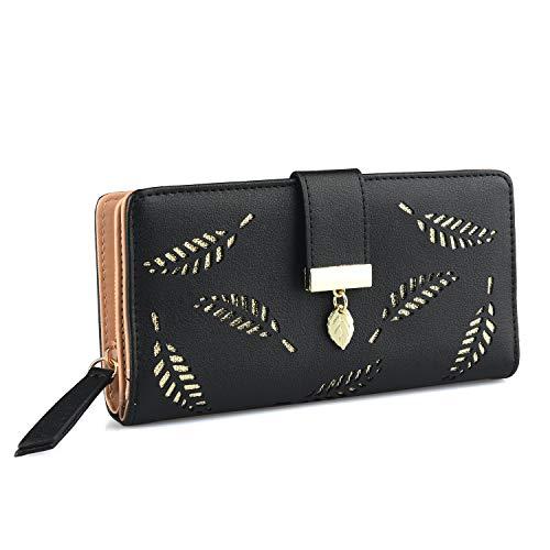 Damen Geldbörse Geldbeutel Brieftasche aus PU Leder mit Blatt Anhänger 12 Kartensteckplätze Münzen Geldscheine Organizer für Frauen Mädchen