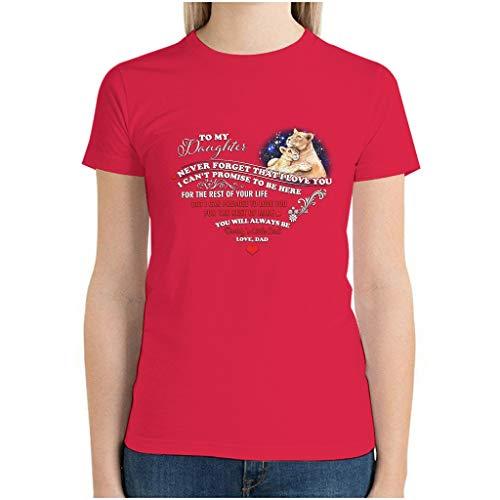 Lion to My Daughter Starry 3D-Digitaldruck Kurzarm T-Shirt für Mädchen Gr. S, Rot1