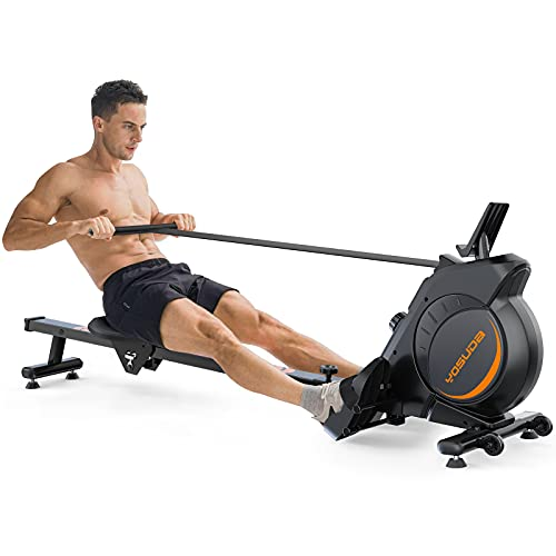 YOSUDA Magnetic Rowing Machine 350 LB Weight Capacity - Foldable Rower for Home Use with LCD Monitor, Tablet Holder and Comfortable Seat Cushion