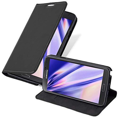 Cadorabo Hülle für Samsung Galaxy Note 3 NEO - Hülle in Nacht SCHWARZ – Handyhülle mit Magnetverschluss, Standfunktion und Kartenfach - Case Cover Schutzhülle Etui Tasche Book Klapp Style