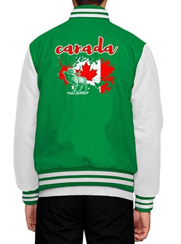 Shirt Happenz Kanada Ahornblatt Canada Elch Canada Collegejacke Herren Jacke Baseballjacke, Größe:M, Farbe:Hellgrün Weiß JH043