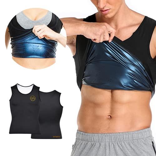 SINSIDER Camiseta de tirantes de sudación hombre, chaleco de adelgazamiento para fitness, camiseta de efecto sauna deportiva + cinturón abdominal reductor de pérdida de peso (XXL/XXXL, Men)