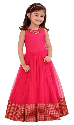Wommaniya Impex New Kids Pink Sequence softnet Readymade Gown for Girls (5-6 Years)
