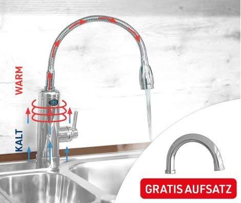 Mediashop Aquadon Smart Heater | Armatur mit integriertem Durchlauferhitzer | 2 Aufsätze | Digitale LED-Temperaturanzeige | Wasserhahn | Boiler | Das Original aus dem TV - 6