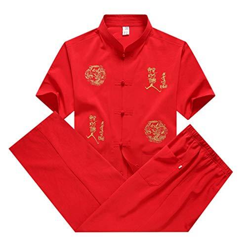 LaoZanA Hombres Ropa China Tradicional Antigua Disfraz Traje Tang Tai Chi Uniforme Rojo 39