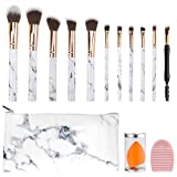 Makeup Brush Set With Bag, Makeup Brushes & Beauty Blender With Holder, Marble Makeup Brush Set For Foundation Powder Concealers Eyeshadows Liquid Cream, multifunctional Makeup Tool With Brush Cleaner
