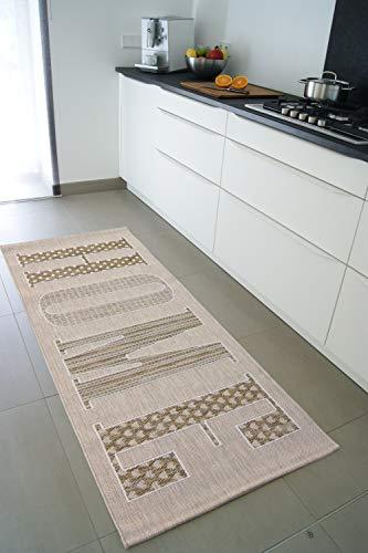 Läufer Home beige 80x200 cm - pflegeleichter Flachgewebe Teppich für drinnen und draußen
