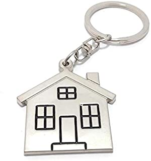 Key Tech Home Or House Metal Keychain (Silver)