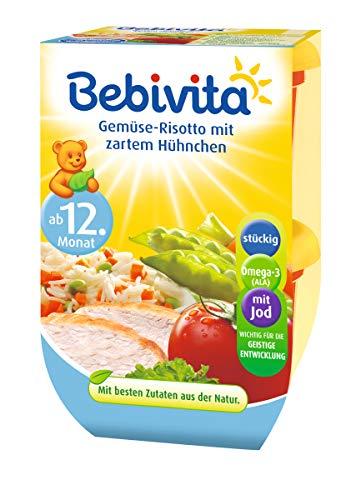 Bebivita Gemüse-Risotto mit zartem Hühnchen, 4er Pack ( 4 x 2 x 250 g )