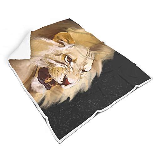 Dofeely - Manta de Microfibra, diseño de león, Muy Suave y mullida, Ideal como Manta para sofá o Cama, poliéster, Blanco, 150 x 200cm