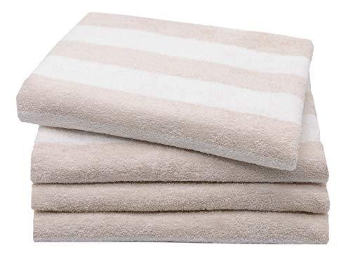 ZOLLNER 4er Set Handtücher, 50x100 cm, 100% Baumwolle, 380g/qm, beige