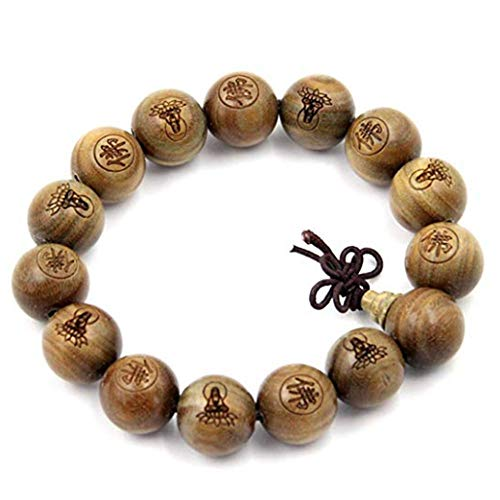 Tibetan Buddhist Green Sandalwood Beads 15mm,Scented Sandalwood Link Wrist Crafts Beads Bracelet,Fashion Gifts for Men Women