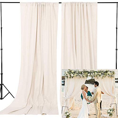 Wedding Curtains Outdoor Indoor Ivory Backdrop 8FTx10FT Polyester Fabric Drapery Birthday Party Background Drapes Wedding Decoration