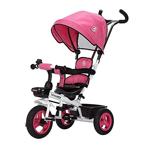 Triciclo Triciclo triciclo cuatro niños triciclo, triciclo para bebés con toldos, plegable ABDOMINALES pedal, cestas de almacenamiento, valla de esponjas, amortiguadores de ruedas, 15 años (color: dob