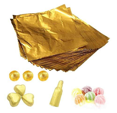 1 Bolsa (100PCS) 4 '' Oro Relieve Papel de aluminio Cuadrados Dulces Caramelo Lolly Papel Chocolate Regalos Envoltorios Polvo Té Envasado Azúcar Papel de envolver